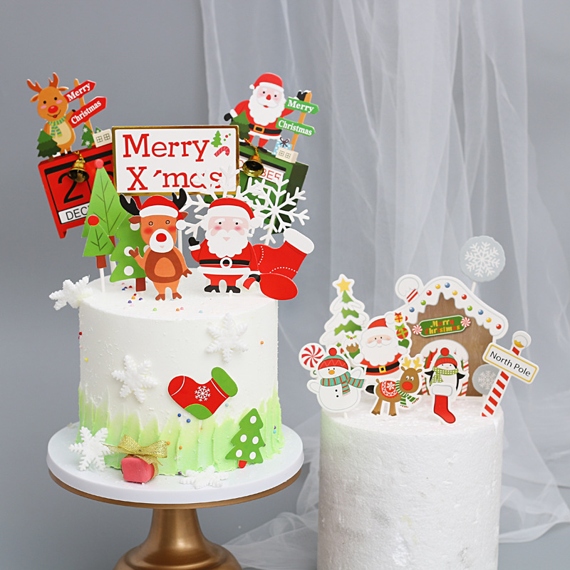 Christmas Cake Toppers Merry Christmas Advent Calendar Santa Claus Cupcake Toppers For Christmas Party Happy New Year Decoration Cake Decorating Supplies Aliexpress