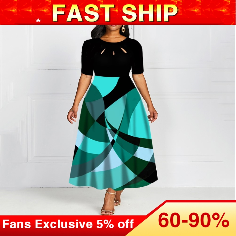Платье с коротким рукавом и круглым вырезом, винтажное длинное платье с принтом А силуэта, платье с стандартной талией, осеннее платье 2019|Платья|   | АлиЭкспресс