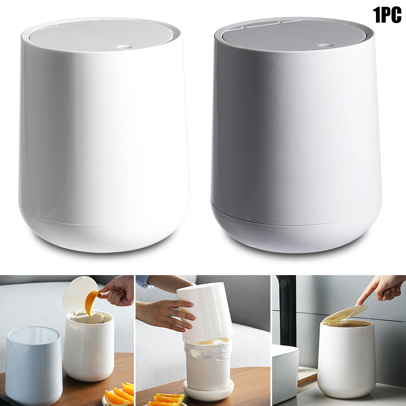 Small Round Plastic Trash Can, Small Bathroom Trash Can With Swing Lid