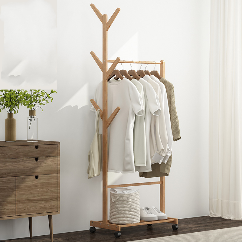 Floor Hangers, Solid Wood Bedroom Hangers, Household Multifunctional, Simple, Mobile Shelves, Clothing Shelves