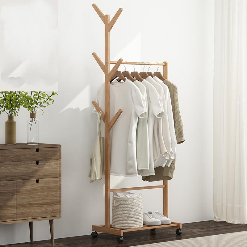 Floor Hangers, Solid Wood Bedroom Hangers, Household Multifunctional, Simple, Mobile Shelves, Clothing Shelves