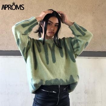Aproms Elegant Green Striped Print Oversized Pullovers Women Winter O-Neck Loose Long Sweaters Streetwear Warm Outerwear 2021 2