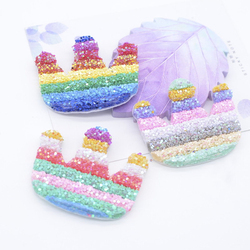 6Pcs 55mm Bling bling Sequins Pipe Bow Tie Patches for Baby Girls Headwear DIY Crafts Supply Kids Hairclip Hat Shoes Accessory