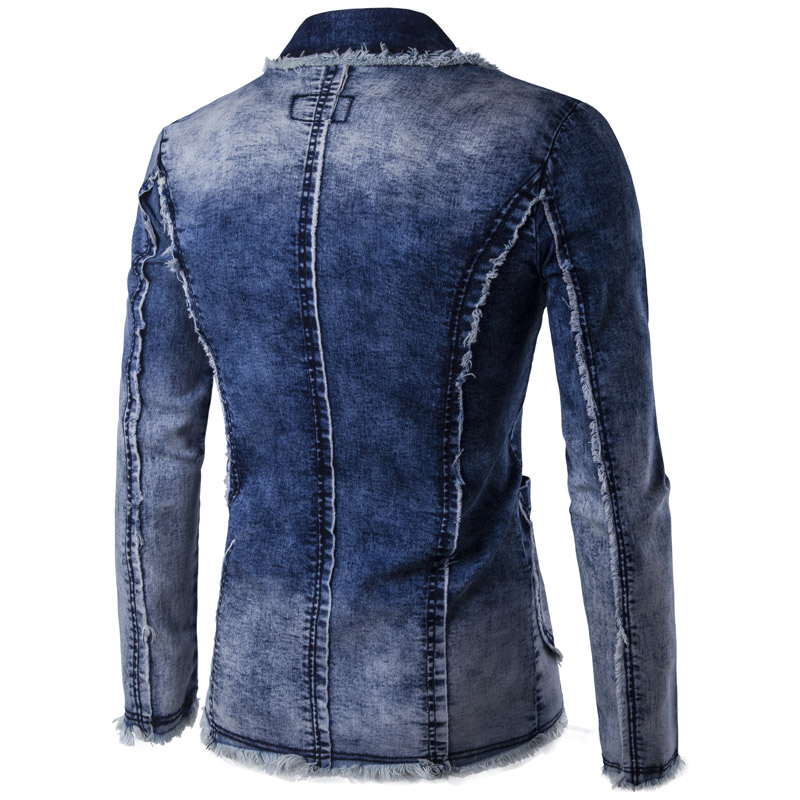 Casual Denim Jacket Suit Men New Spring Fashion Blazer Slim Fit Masculino Trend Jeans Suit Jean Jacket Men Asia Plus Size