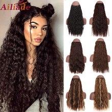 Ailiade extensões de cabelo encaracolado longo invisível cor mista bayalage sintético natural escondido secreto fio coroa preto marrom