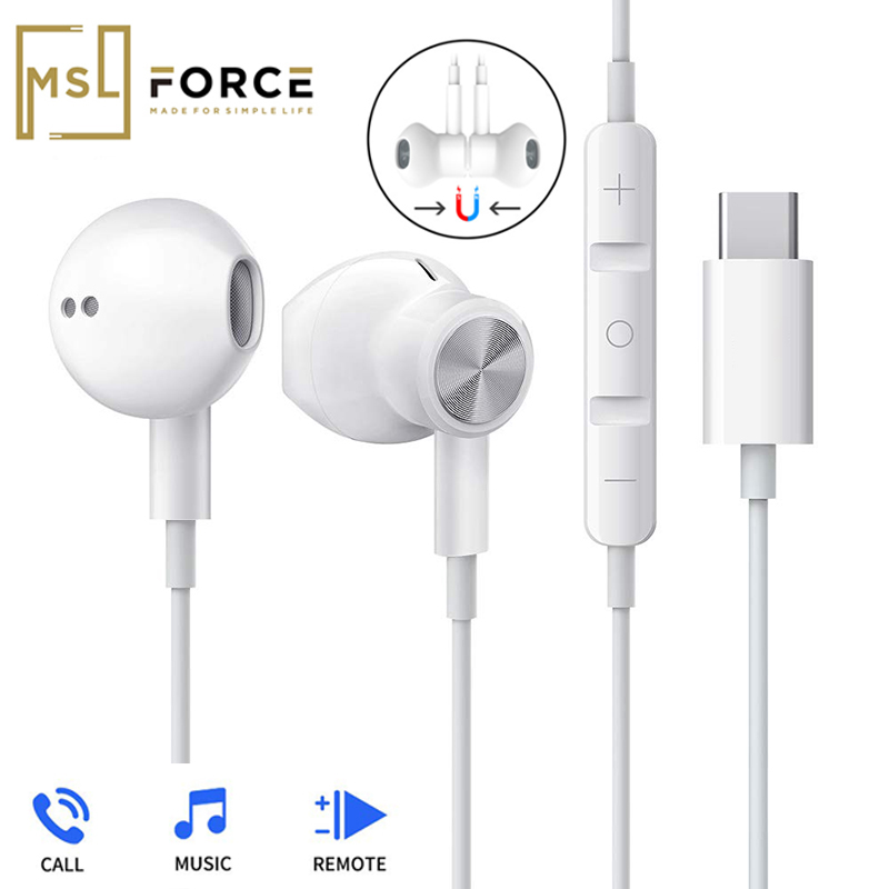 <font><b>USB</b></font> Type <font><b>C</b></font> Google chip Earphones magnetic Sports Stereo earphone with Wired control for HUAWEI P30 Mate 20 Pro Xiaomi 8 <font><b>Samsung</b></font> image