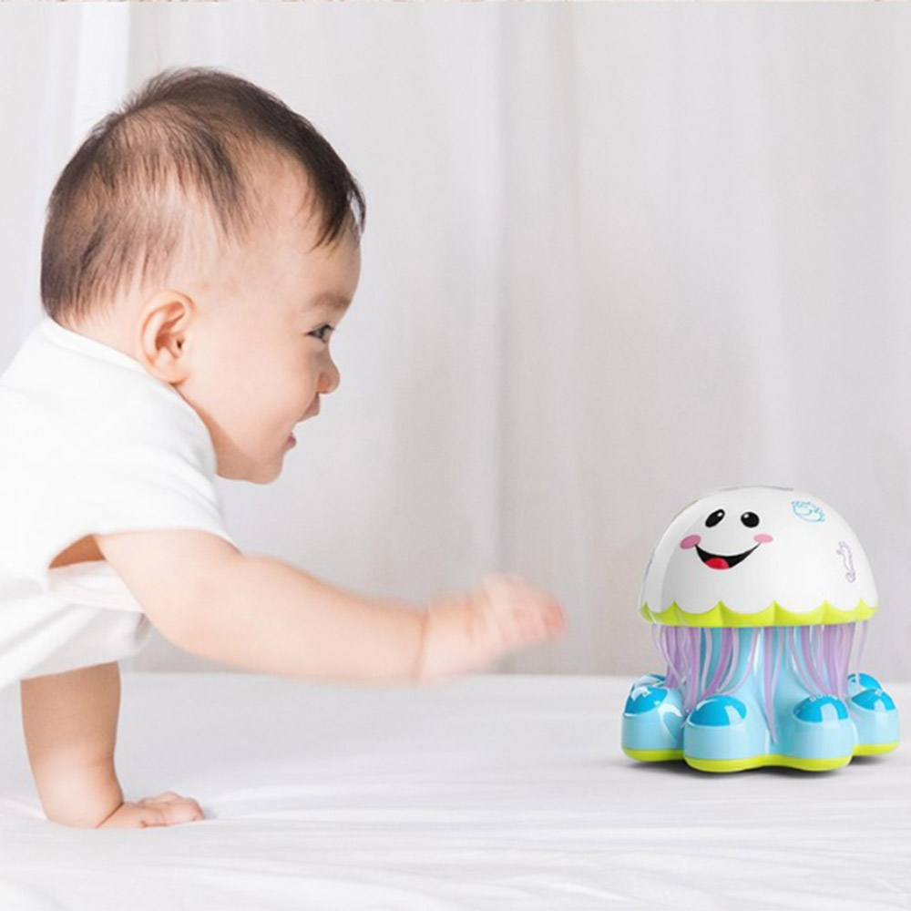 Baby Electric Jellyfish Light Music Story Infant Educational Toy Intelligent Robot Wheel Funny Toys For Kid