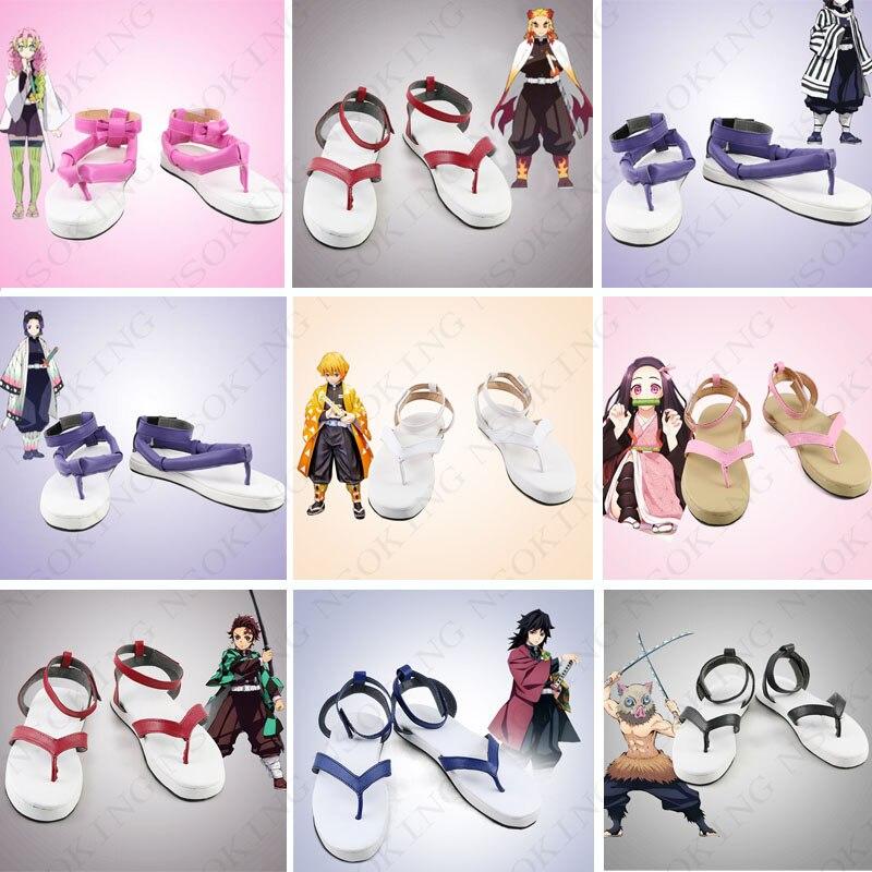Tueuse de démons: Kimetsu no Yaiba Kamado Tanjirou Kamado Nezuko Kanroji Mitsuri Rengoku Kyoujurou chaussures cosplay Iguro Obanai bottes