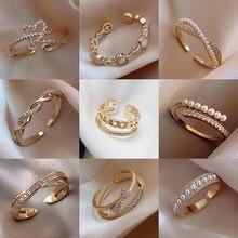 LATS – bague de luxe en Zircon doré pour femme, anneau ouvert Vintage Sexy, bijoux élégants, à la mode, cadeaux, 2021
