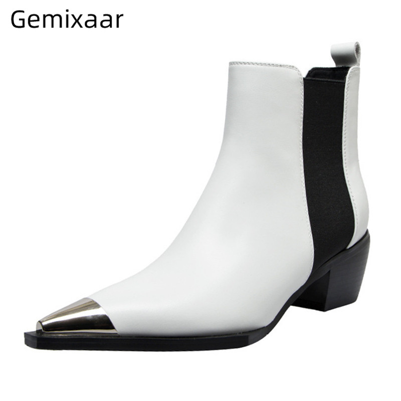 Autumn Hot Sell Boots Woman Metal Pointed Toe White Genuine Leather Shopping Bottes Comfy Plus Size Med Square Heel Boots Woman
