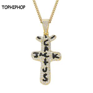 TOPHIPHOP Personalized Cactus Jack Pendant &Necklace Iced Cubic Zircon Plated Gold Silver Color Hip Hop Jewelry For Men Women(China)
