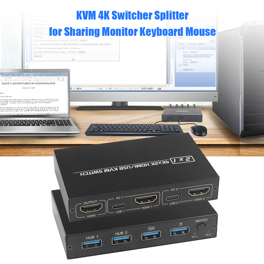 KVM commutateur HDMI UHD 4K ménage ordinateur pièces de sécurité pour 2 ordinateurs partageant moniteur clavier souris imprimante