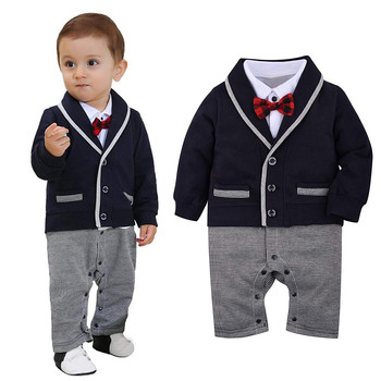 #50 2021 Baby Romper Newborn Infant Baby Boy Clothes Tuxedo Gentleman Onesie Romper Long Sleeve Jumpsuit Wedding Outfits 3-18m image