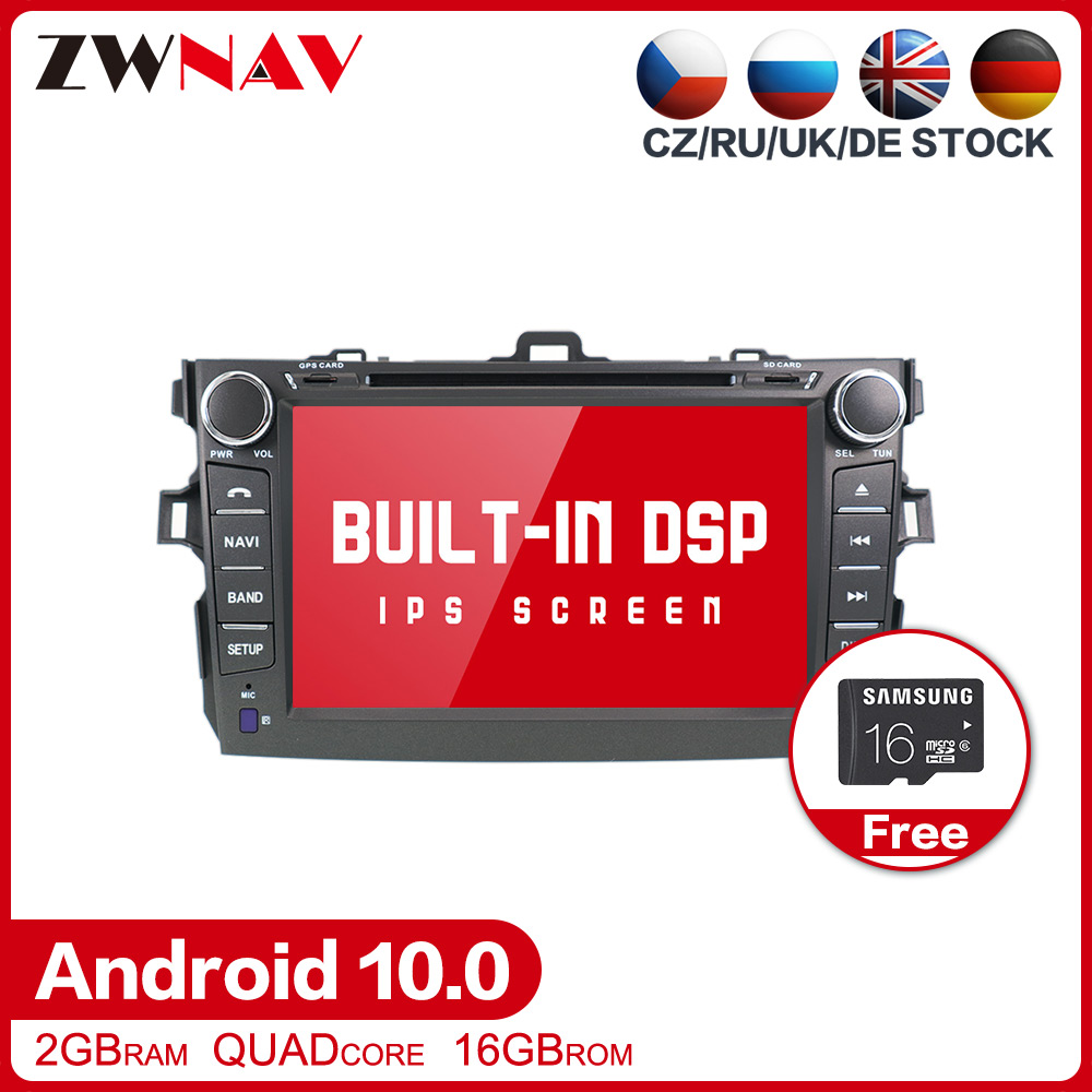 DSP Android 10.0 Car DVD Stereo Multimedia player For Toyota corolla 2007-2013 Radio GPS Navi Audio Video Head unit stereo map