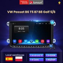 Junsun V1 Android 10 2din radio coche con reproductor multimedia pantalla para VW passat b6 t5 b7 b8 Golf 5 6 caddie POLO T5 touran 2003 2004 2005 touran Automóvil Bluetooth/Carplay/gps