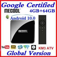 Mecool km3 atv km9 pro caixa de tv android 10.0 google certificou s905x2 4k media player 2.4/5g wifi inteligente conjunto caixa superior 9.0 4gb ram