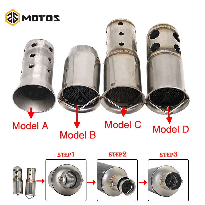 ZS MOTOS 51mm 60mm Inlet Motorcycle Exhaust Muffler Adjustable DB Killer Silencer Noise Sound Eliminator Front Catalyst(China)