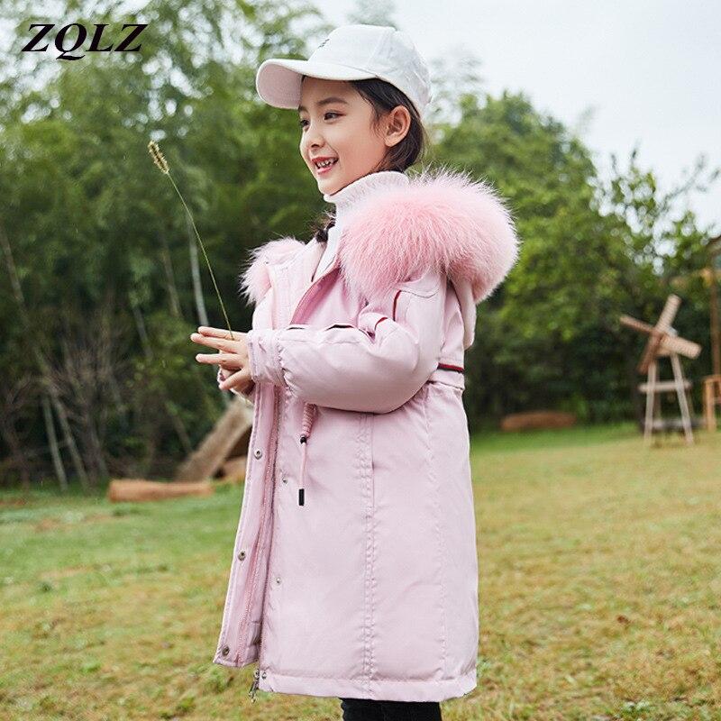 ZQLZ mode filles canard vers le bas veste d'hiver chaud enfants Parkas manteau fourrure de raton laveur enfant adolescent vêtements d'extérieur épais pour l'hiver froid