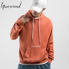 Yasword 2019 Autumn New Hoodie Men 100% Cotton Letter Print Orange Black Color Hooded Sweatshirt Male Plus Size Casual Pullovers цена 2017