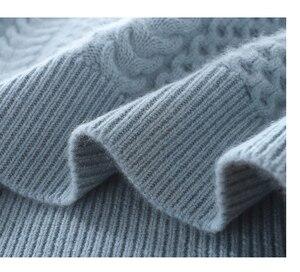 Image 5 - 2019 nova moda dupla engrossar solto gola alta suéter de caxemira feminino manga longa camisola de malha sólido pullovers