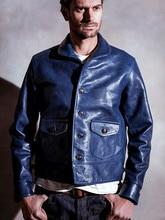 Мужская куртка из воловьей кожи, Классическая Повседневная куртка цвета индиго из натуральной кожи, с растительным дублением