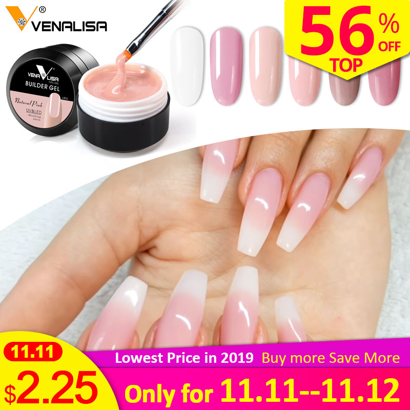 Thick Builder Gel Nails Pink VENALISA New 15ml Finger Nail Extension UV LED Gel Nail Cover Pink Camouflage Soak Off Jelly Gel-in Nail Gel from Beauty & Health