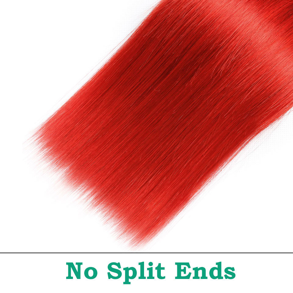 unice hair ombre red bundles with closure (27)