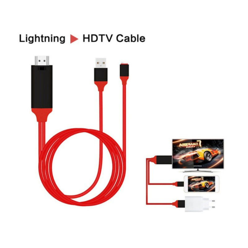 For IPhone IPad To HDMI Adapter HDTV Cable Support TV Car Screen Projector