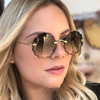Okrągłe okulary przeciwsłoneczne bezramkowe damskie przyciemniane kolory luksusowe marki okulary przeciwsłoneczne męskie metalowe okulary przeciwsłoneczne damskie odcienie mody tanie i dobre opinie TTVXO CN (pochodzenie) WOMEN ROUND Dla dorosłych Stop UV400 Antyrefleksyjną Gradient Fotochromowe 57mm Z poliwęglanu