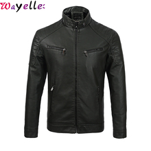 Soft PU Leather Jackets Coats Men Mandarin Collar Fleece Warm Faux Moto Biker
