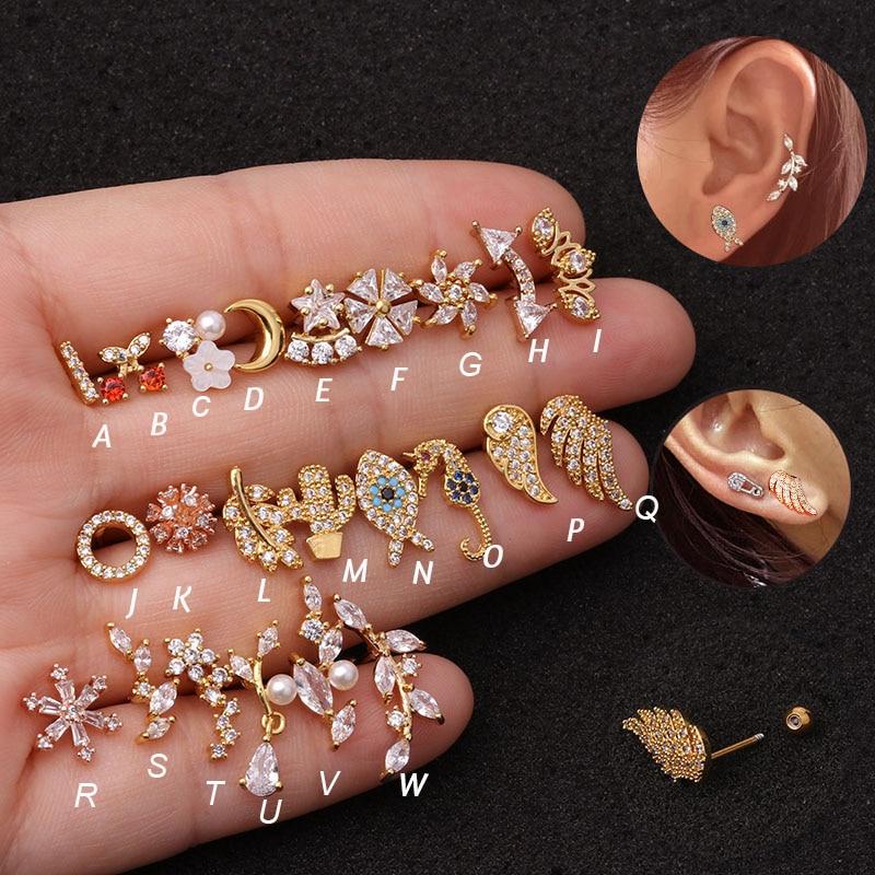 Hot 1piece  Steel Copper Fish Hand Tree CZ ear piercing jewelry steel barbell daith earrings helix cartilage studs Piercing Body Jewelry    - AliExpress