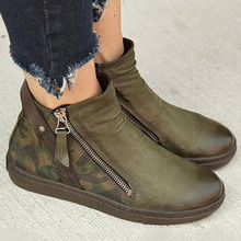 2019 Autumn New Boots Women Camouflage Leather Boots Female Martin Boots Round Toe Western Ankle British Style zapatos de mujer цена