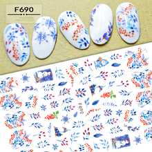 New Nail Sticker Foil Decals Snowman Snowflake 3D Stickers for Nails Flower Leaf Nail