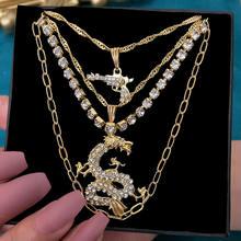 Flatfoosie – collier avec pendentif en strass, pour femmes, multicouches, cristal, Dragon, ras du cou, Punk, bijoux de déclaration, cadeau