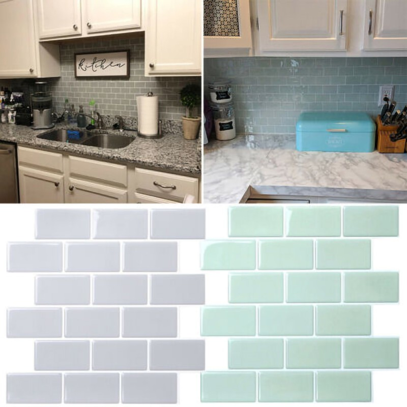 <font><b>12</b></font> Inch <font><b>3D</b></font> Wallpapers Self-Adhesive Kitchen Wall Tiles Mosaic Tile Sticker Peel Stick Home Decoration Decals image