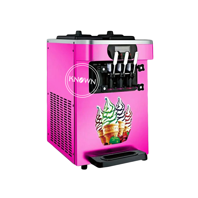 22L//H Stainless Steel 3 Flavor Table Top Soft Ice Cream Machine Maker