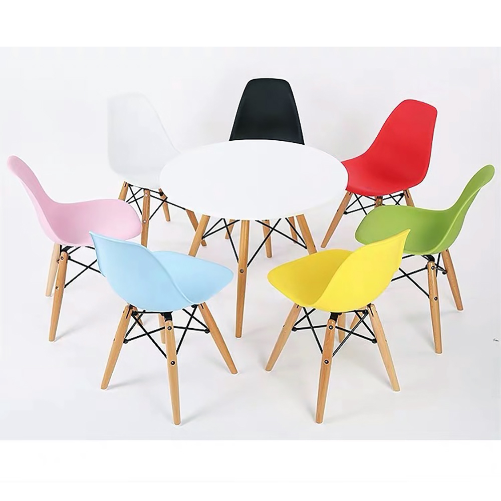 Children's Table Children's Furniture On Beech Legs With Art Design With Hard PP Plastic Seat Kitchen Chair Home Chair
