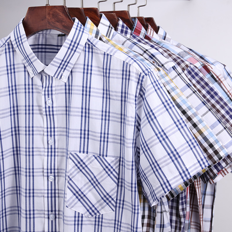 For Summer S~8XL 100% Cotton Breathable Short Sleeve Men's Checkered Shirt  Slim Fit Casual Cool Male Plaid Shirts Many Colors 5
