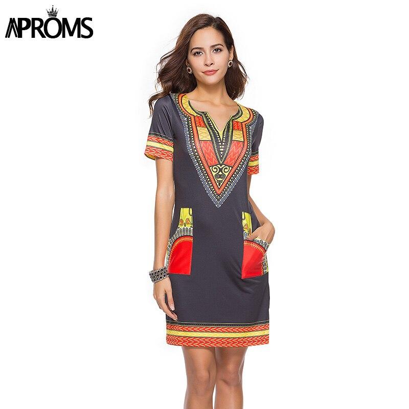 Aproms Sexy V Neck Pocket Patchwork Bodycon Tunic Dress Women Summer 2020 Robe African Print Dashiki Dresses Sundresses Vestidos 3