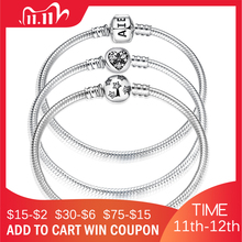 New 925 Sterling Silver Bracelets Round shape Snake Chain For Womens Accessories Fashion Jewelry Valentines Mothers Day gift