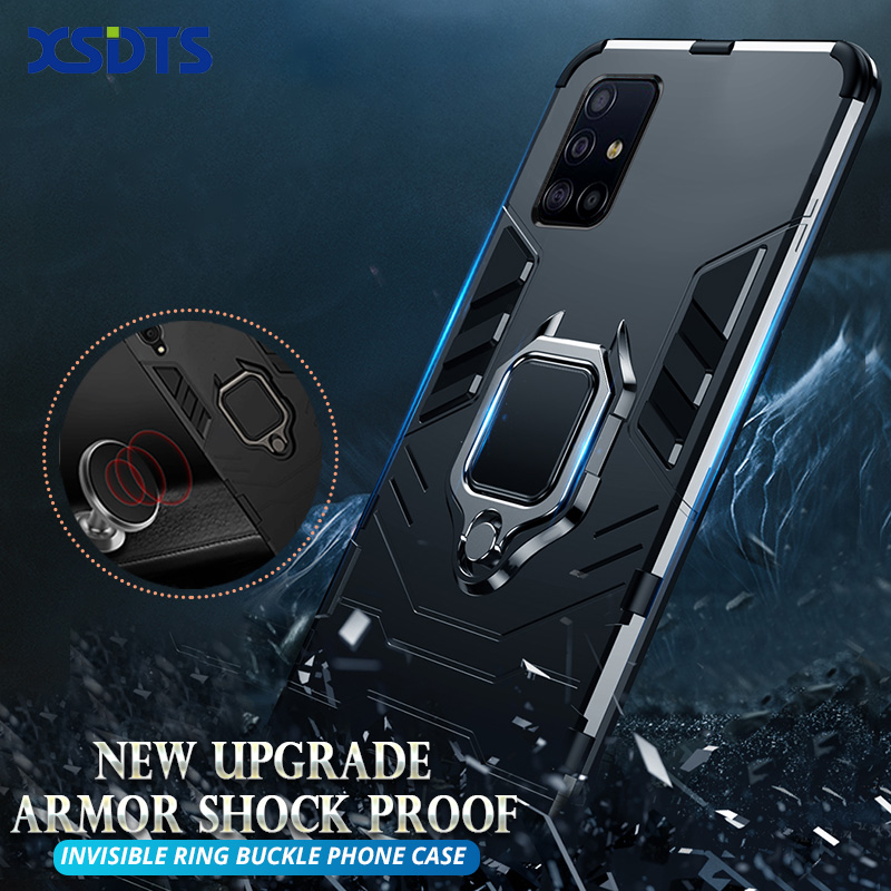Anti Shock Proof Case For Samsung Galaxy A01 A11 A31 A41 A51 A71 A81 A91 5G A21S Phone Case PC+Silicone Iron Man Kickstand Cover