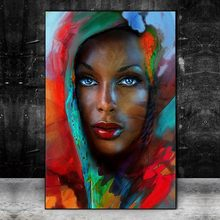 Blue Eyes Abstract African Woman Art Canvas Paintings on the Wall Art Posters And Prints Black Woman Art Pictures Home Decor