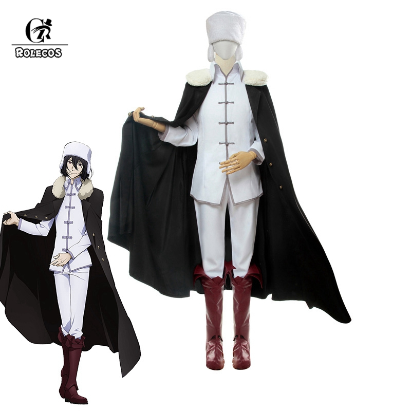 ROLECOS Anime Cosplay Bungou Stray Dogs Costume Fyodor Dostoevsky Cosplay Costume Fyodor Cloak Outfit Men Shoes Cover Boots Hat