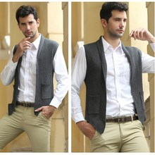 Spring autumn new middle-aged men's sleeveless sweater vest V-neck knitted Cardigan Slim cotton vest casual M-3XL