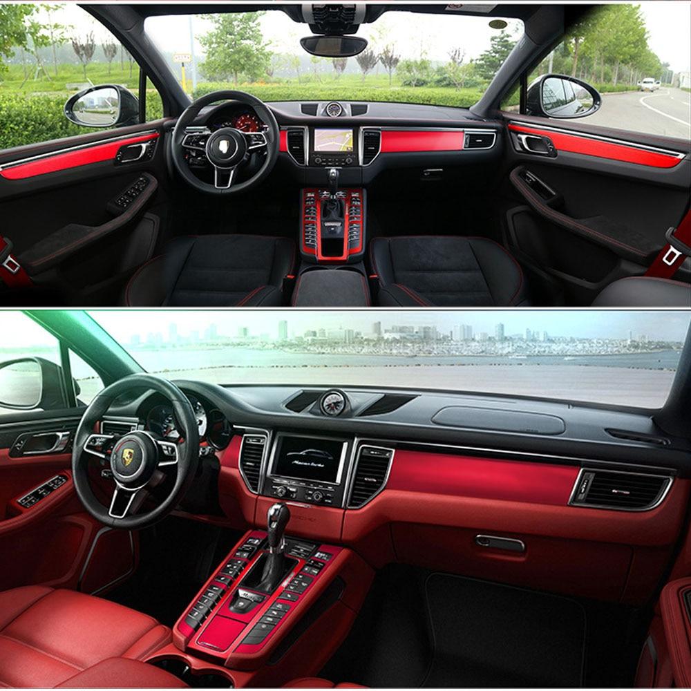 For Porsche Macan 2014-2018  Interior Central Control Panel Door Handle Carbon Fiber Stickers Decals Car Styling Accessorie