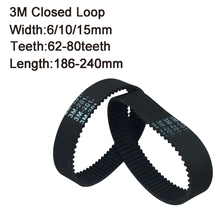 HTD 3M Round Rubber Timing Belts Closed-Loop 186/189/195/198/201/207/213/216/225/228/240mm Length 6/10/15mm Width Drive Belts velante 186 207 09