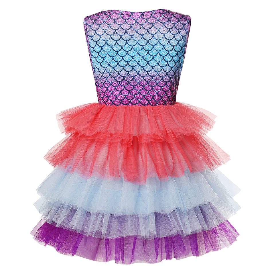 Layered Princess Mermaid Dress up Girl Party Costume Scales Print Gown Kids Milk Silk Clothes and Jewelry Grils Aril Fancy Dress 2