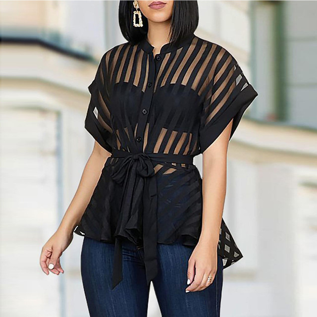 #Z30 See-through Womens Mesh Blouse Shirt Summer See Belt Striped Peplum Tops Elegant Streetwear Sexy Classy Party Blouses 1