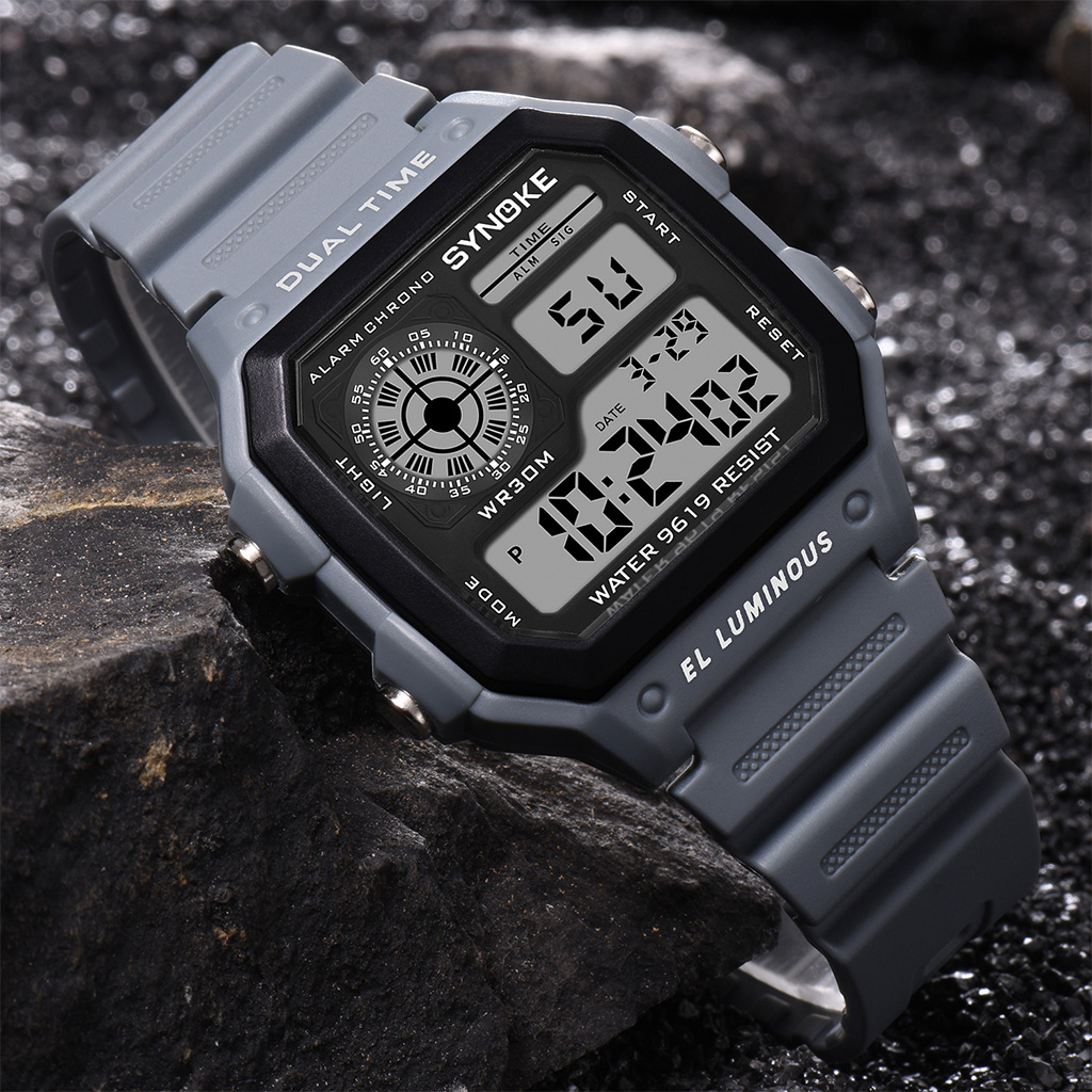 SYNOKE Men Sports Watches Fashion Countdown Men's 3M Waterproof LED Digital WristWatch Man Military Clock Relogio Masculino