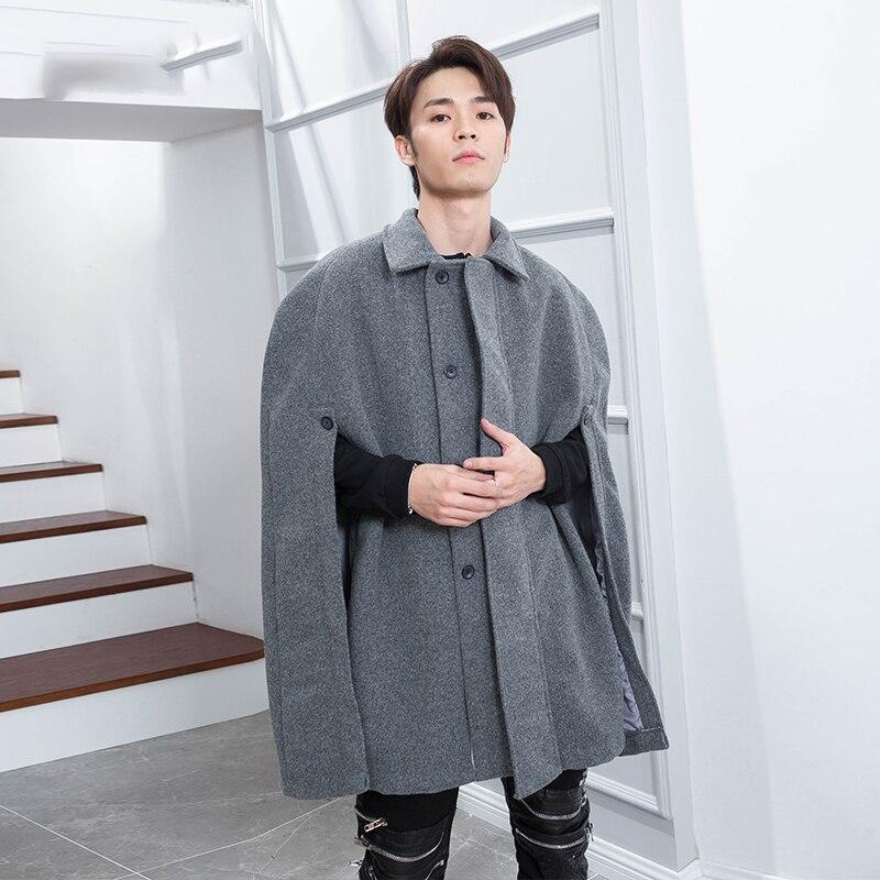 Cape Cloak Coat Personality Bat Shirt Coat Men's Tide Hip-Hop Long Coat Shawl Winter Sleeveless Lapel